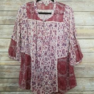 Lucky Brand Red Paisley Sheer Button Top 1X Plus Size